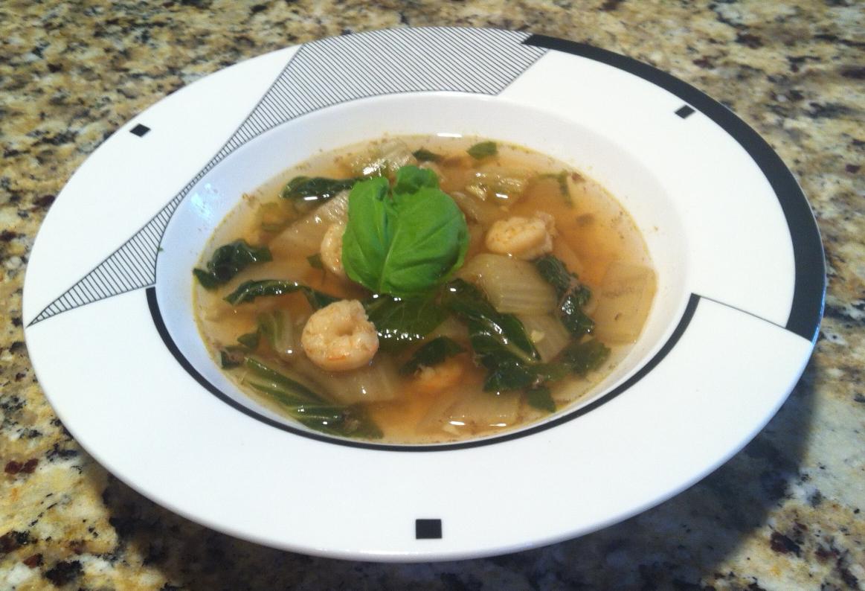 Soupe de crevettes au bok choy et à la citronnelle – Shrimp, Bok Choy and Lemongrass soup