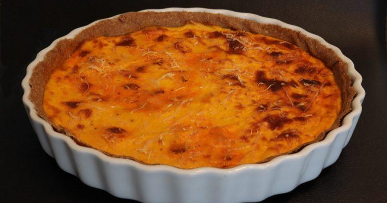 Quiche aux carottes, chorizo doux et confiture d'oignons – Carrot, chorizo and onion jam quiche